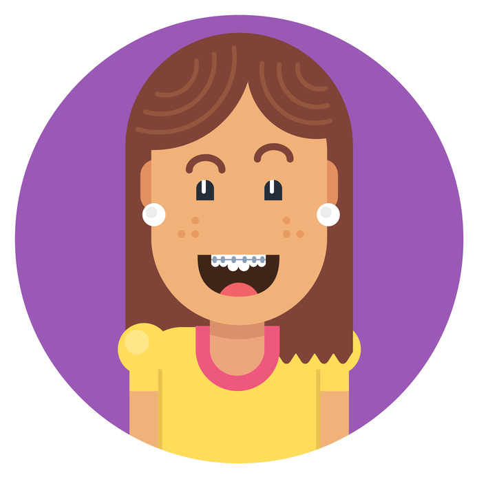 Girl with braces on teeth